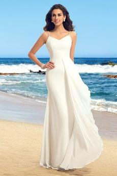 A linka Šifón Bez rukávov Prírodné pása Pláž Navliekanie korálok Svadobné šaty