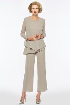 Kaskádové Šperk S nohavice Pružina Šifón Oblek na nohavice Matné šaty