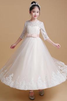 Jeseň A Riadok Čipkou Overlay Dĺžka podlahy Tričko Kvetinové šaty