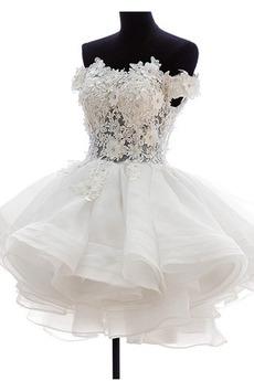 Krátke Off rameno Letné Tlačidlo Prírodné pása Svadobné šaty