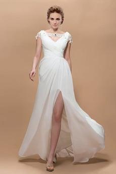 Krátke rukávy Elegantné Skladaný živôtik Čipkou Overlay Večerné šaty
