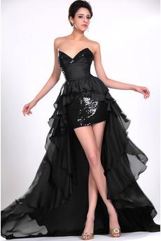 Bez ramienok Čierna Šerpa Asymetrické Zips hore Koktejlové šaty
