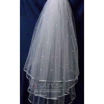 Ozdobný krátky perlový slonovinový podväzok Satin svadobný závoj - Strana 3