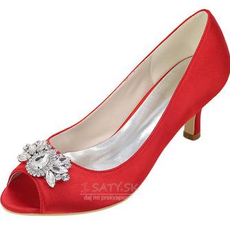 Vysoký podpätok drahokamu dámska obuv móda saténová banketová obuv ihlové sandále - Strana 7