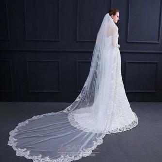 Elegantný čipkovaný závoj s hrebeňom 3 metre dlhý svadobný závoj - Strana 1