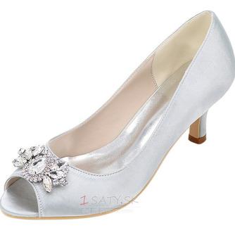 Vysoký podpätok drahokamu dámska obuv móda saténová banketová obuv ihlové sandále - Strana 5