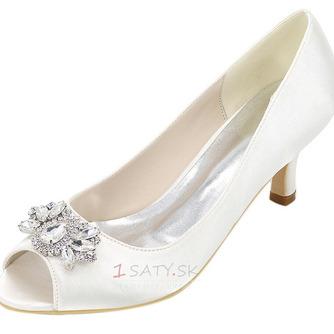 Vysoký podpätok drahokamu dámska obuv móda saténová banketová obuv ihlové sandále - Strana 1