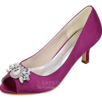 Vysoký podpätok drahokamu dámska obuv móda saténová banketová obuv ihlové sandále - Strana 4