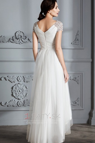 Krátke rukávy Zips hore Elegantné Zavesený Asymetrické Svadobné šaty - Strana 2