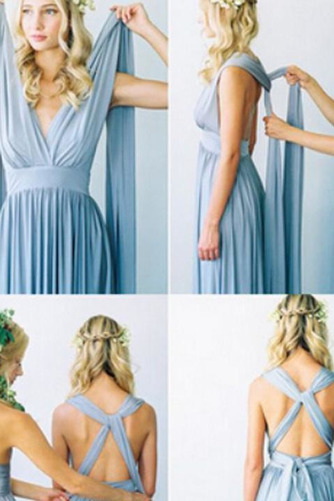 S hlbokým výstrihom Šifón Chýbať V krku Elegantné Družičky šaty - Strana 5