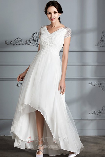 Krátke rukávy Zips hore Elegantné Zavesený Asymetrické Svadobné šaty - Strana 4