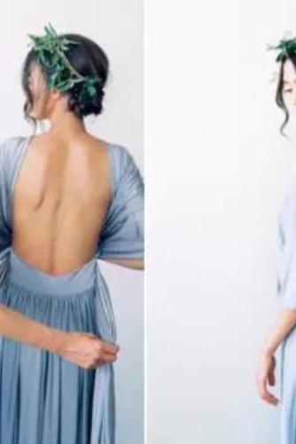 S hlbokým výstrihom Šifón Chýbať V krku Elegantné Družičky šaty - Strana 7