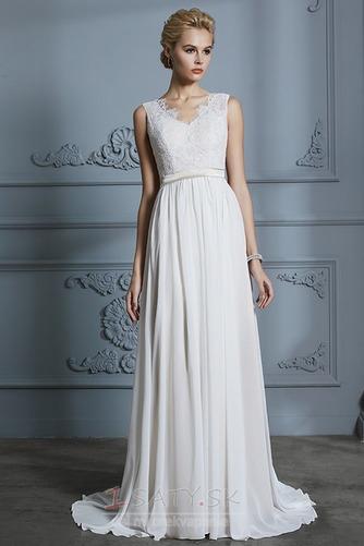 Prostý Bez rukávov S hlbokým výstrihom Prírodné pása Svadobné šaty - Strana 3