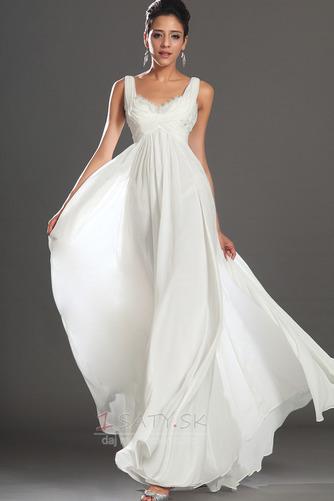 Bez rukávov Skladaný živôtik Biela Členok dĺžka Večerné šaty - Strana 1