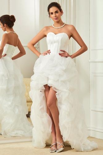 Asymetrické Vysoký nízky Satén Skladaný Vonkajšie Svadobné šaty - Strana 1