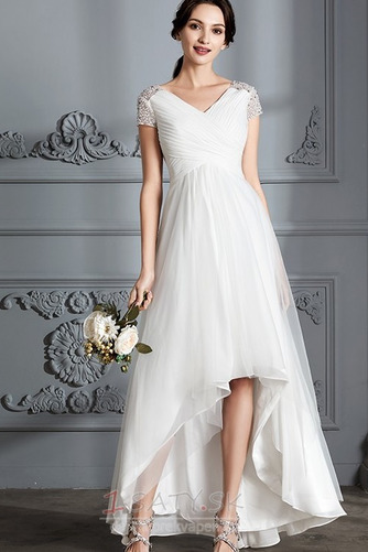 Krátke rukávy Zips hore Elegantné Zavesený Asymetrické Svadobné šaty - Strana 1