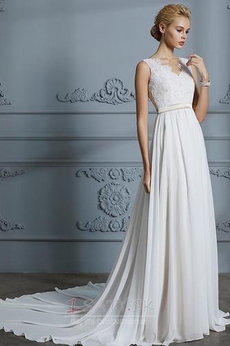 Prostý Bez rukávov S hlbokým výstrihom Prírodné pása Svadobné šaty - Strana 1