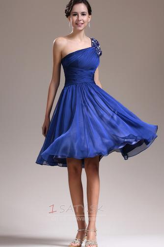 Asymetrické rukávmi Prírodné pása Tmavo modrá Jedno rameno Družičky šaty - Strana 1