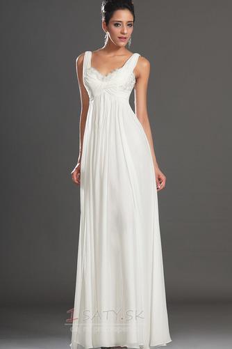 Bez rukávov Skladaný živôtik Biela Členok dĺžka Večerné šaty - Strana 4