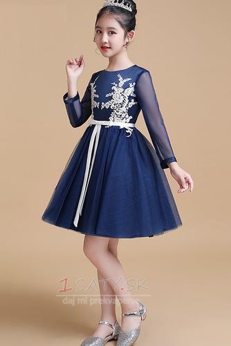 Čipka Elegantné Kolená Dlhými rukávmi A-Riadok Kvetinové šaty - Strana 1