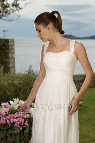 Kolená A-Riadok Skladaný Šifón Letné Skladaný živôtik Svadobné šaty - Strana 3