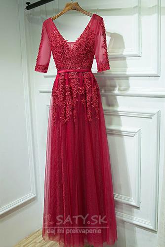 Čipkou Overlay Banket Ilúzia rukávmi Elegantný Družičky šaty - Strana 6