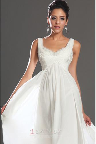 Bez rukávov Skladaný živôtik Biela Členok dĺžka Večerné šaty - Strana 8