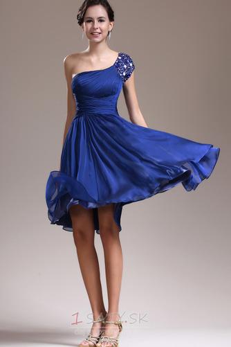 Asymetrické rukávmi Prírodné pása Tmavo modrá Jedno rameno Družičky šaty - Strana 2