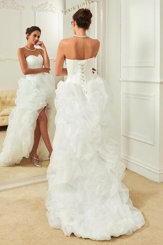 Asymetrické Vysoký nízky Satén Skladaný Vonkajšie Svadobné šaty - Strana 2