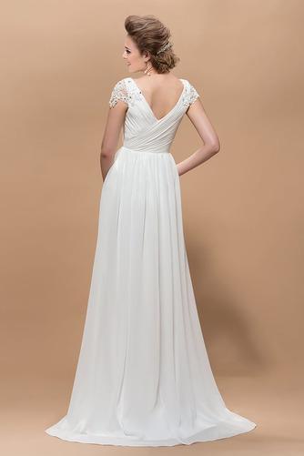 Krátke rukávy Elegantné Skladaný živôtik Čipkou Overlay Večerné šaty - Strana 2