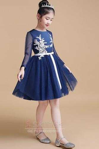 Čipka Elegantné Kolená Dlhými rukávmi A-Riadok Kvetinové šaty - Strana 3