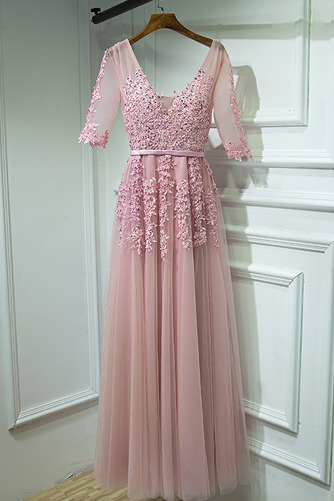 Čipkou Overlay Banket Ilúzia rukávmi Elegantný Družičky šaty - Strana 4