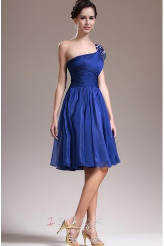 Asymetrické rukávmi Prírodné pása Tmavo modrá Jedno rameno Družičky šaty - Strana 5