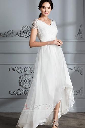 Krátke rukávy Zips hore Elegantné Zavesený Asymetrické Svadobné šaty - Strana 3