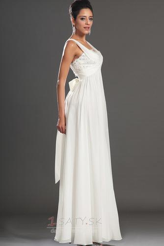 Bez rukávov Skladaný živôtik Biela Členok dĺžka Večerné šaty - Strana 5