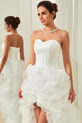 Asymetrické Vysoký nízky Satén Skladaný Vonkajšie Svadobné šaty - Strana 3