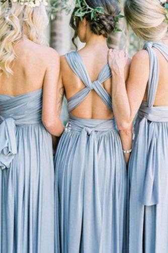 S hlbokým výstrihom Šifón Chýbať V krku Elegantné Družičky šaty - Strana 4