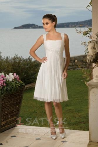 Kolená A-Riadok Skladaný Šifón Letné Skladaný živôtik Svadobné šaty - Strana 1