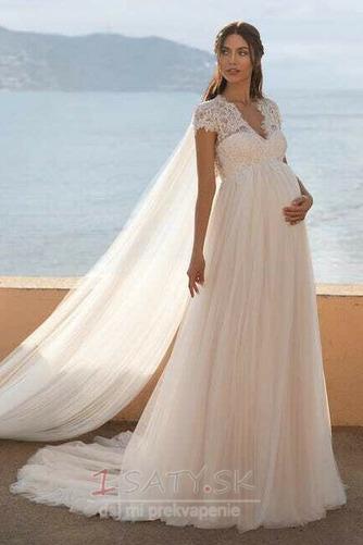Ríša Vonkajší Tyl V krku Materstvo Elegantné Nášivky Svadobné šaty - Strana 5