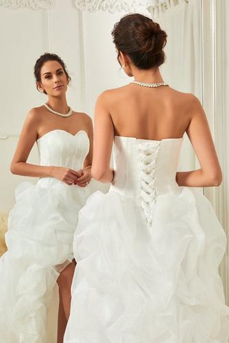 Asymetrické Vysoký nízky Satén Skladaný Vonkajšie Svadobné šaty - Strana 4