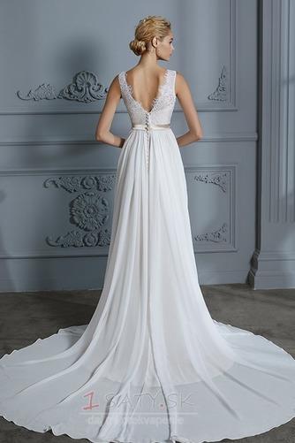 Prostý Bez rukávov S hlbokým výstrihom Prírodné pása Svadobné šaty - Strana 2