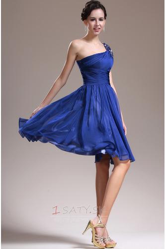 Asymetrické rukávmi Prírodné pása Tmavo modrá Jedno rameno Družičky šaty - Strana 4