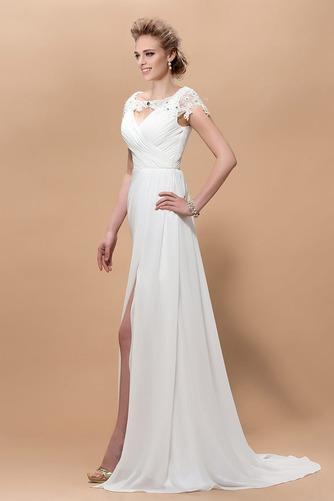 Krátke rukávy Elegantné Skladaný živôtik Čipkou Overlay Večerné šaty - Strana 3