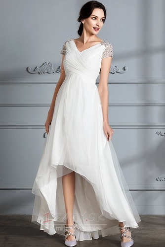 Krátke rukávy Zips hore Elegantné Zavesený Asymetrické Svadobné šaty - Strana 5