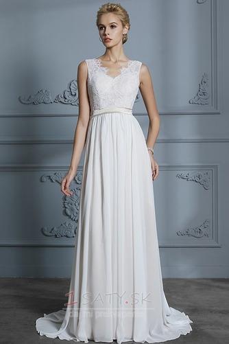 Prostý Bez rukávov S hlbokým výstrihom Prírodné pása Svadobné šaty - Strana 4