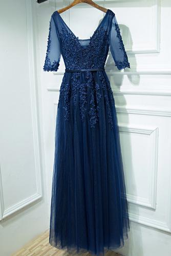 Čipkou Overlay Banket Ilúzia rukávmi Elegantný Družičky šaty - Strana 3