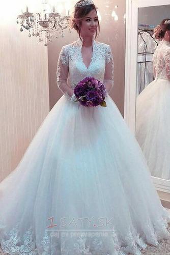 Dlhými rukávmi Hlboký výstrih Letné Kráľovná Anna Svadobné šaty - Strana 1