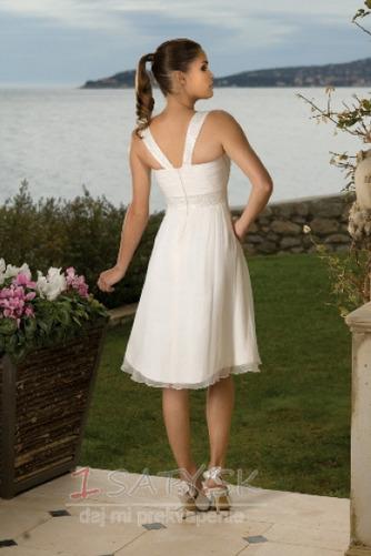 Kolená A-Riadok Skladaný Šifón Letné Skladaný živôtik Svadobné šaty - Strana 2