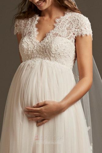 Ríša Vonkajší Tyl V krku Materstvo Elegantné Nášivky Svadobné šaty - Strana 4