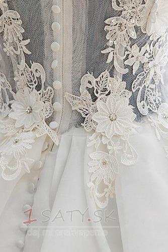Krátke Off rameno Letné Tlačidlo Prírodné pása Svadobné šaty - Strana 4